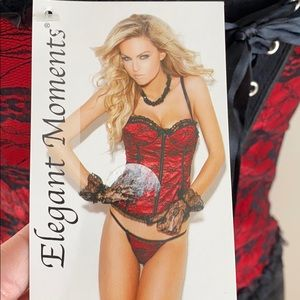 NWT red and black lace corset with thong lingerie